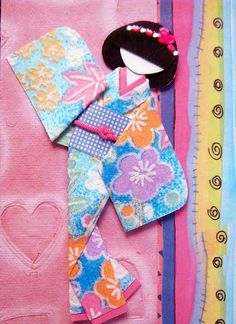 ATC with hand-made Japanese paper doll.  Just love these!