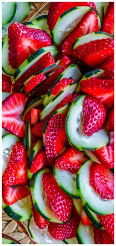 Strawberry Cucumber Salad with Honey Balsamic Dressing ~ This 4 ingredient salad is a total show stopper... It's simplicity lets the strawberries and cucumbers shine.