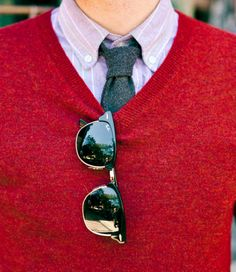 Nice tie, cool sweater, awesome shades.
