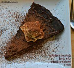 Pumpkin Chocolate Torte with Pumpkin Whipped Cream chocol tort, weight loss, healthy dessert recipes, healthy recipes, healthy foods, healthy desserts, thanksgiving desserts, pumpkin chocol, whipped cream