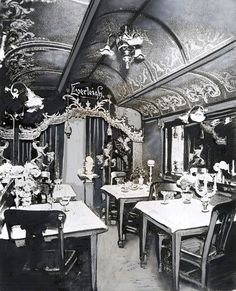 vintage railroad dining cars on pinterest china car interiors and. Black Bedroom Furniture Sets. Home Design Ideas