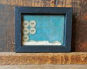 Shadow box vintage fabric covered buttons artwork by Kettle of Fish Designs on Etsy