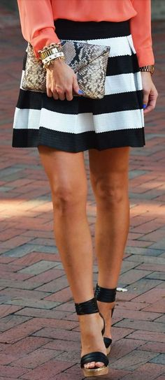 The Beyond Black and White Bandage Skirt