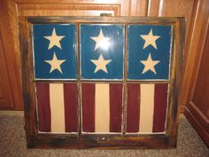 flags painted on windows | American Primitive Country Flag Window Craft Decoration 6 Pane