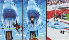 The Berlin Aquarium, sponsoring an international track meet, got to customize the pole vault landing mat.