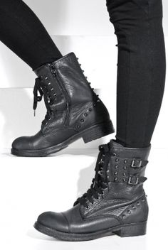 Women's Rebel Lace-Up Boots (Black) | Ash | 80's Purple - StyleSays