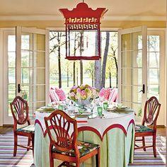 lantern, tablecloth, light fixtures, color