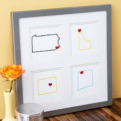 Do you have a long-distance friend? This thoughtful, homemade Embroidered States Artwork will be the perfect gift to send them this holiday season: http://www.bhg.com/christmas/crafts/cute-craft-christmas-gifts/?socsrc=bhgpin112713embroideredstatesartwork&page=1