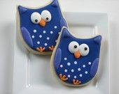 Super cute cookies in all sorts of fun themes product, owl cookies, fun theme, owls, blues, decor cooki, cake desa