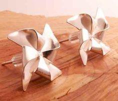 pinwheel earring, silver pinwheel