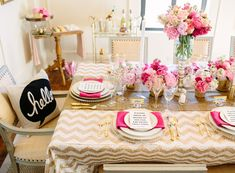 dining rooms, table settings, engagement parties, color schemes, valentine day, dinner parties, gold party, kate spade, bridal showers