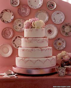 Lusterware Wedding Cake and Glassware
