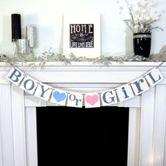 Boy or Girl Banner /Gender Reveal Party Decoration / Baby Announcements / Baby Shower / Nursery Garland Sign / Baby Onesie / New Baby Sign