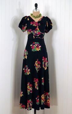 1930's Watercolor Floral Silk-Rayon Print Bias-Cut Full-Length Party  Dress
