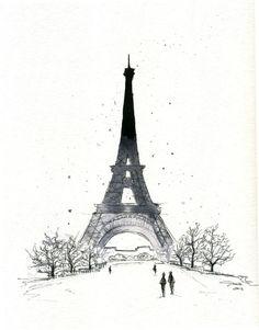 pen, watercolor, eiffel tower, paris, art
