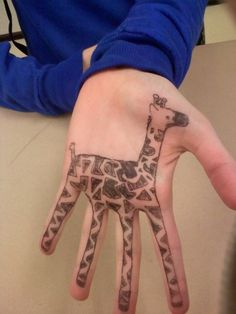 hand tattoos, hands, hennas, doodl, a tattoo, hand art, animal, giraffes, kid