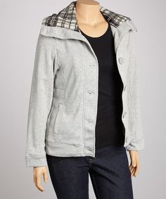 Take a look at this Gray Button-Up Jacket - Plus by High Fashion on #zulily today!