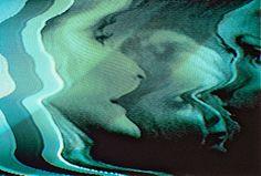 lights, bats, green, glitch art, artmix media