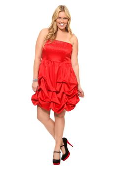 Plus Size Red With Silver Gem Trim Strapless Pickup Dress (i think this is the dress i saw in Torrid)
