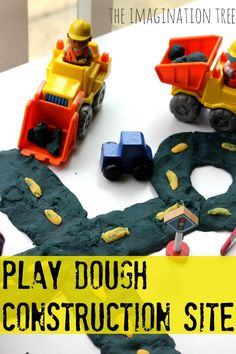 Play dough small world play construction site with diggers and dumper trucks! So much fun
