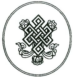 """Tibetan Knot of Eternity.The endless knot has been described as """"an ancient symbol representing the interweaving of the Spiritual path, the flowing of Time and Movement within That Which is Eternal. All existence, it says, is bound by time and change, yet ultimately rests serenely within the Divine and the Eternal."""