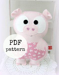 Felt pig toy pattern, farm animal, PDF pattern