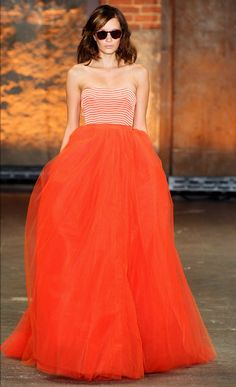 Buy this and find as many occasions as possible to wear it! (Christian Siriano, tulle ball skirt w/ striped bustier)