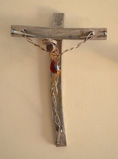 Sangue Prezioso, a crucifix made from scrap iron by CrossesByCatherine, $138.00