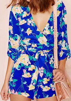 Blue Floral Half Sleeve Chiffon Short Jumpsuit Pants