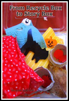 From Recycle Box to Story Box: Halloween Hide & Seek Story Time for Where is Baby Pumpkin? Karen Katz book #kbn