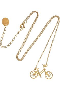 alex monroe 22-karat gold-plated sterling silver bicycle necklace $275 #bling #gold