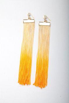 Ombre deep yellow Fringe Earrings