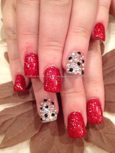 Red glitter polish with black and clear Swarovski ring finger