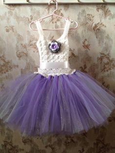 Crochet flower girl tutu dress purple