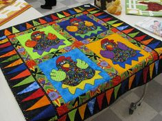 Chicken quilt...love the colors color, chicken quiltlov