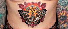 sethwoodtattoo:    Billy's belly full of translucent moth-mandala-flower weirdness made a couple weeks back at Saved. Her British mettle shown brightly, both in her patience waiting to get tattooed and in her stone-like performance on the table. I say… good show, ole chap!  Here's a closer look:
