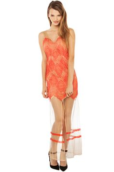 Lacey Lady! Look & Feel Sexy in our Pretty In Lace Maxi Dress in Coral!