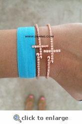 Rose gold dot cross bracelet, $14. So pretty! <3 @derng #rosegold
