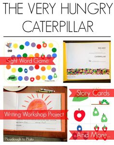 Awesome Very Hungry Caterpillar literacy activities for kids!  {Playdough to Plato}