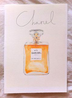 Watercolour Chanel No 5 Perfume bottle A4 por mbaileyillustrations ✭Teresa Restegui http://www.pinterest.com/teretegui/ ✭