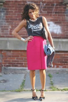 Graphic top w/ sophisticated skirt = Edgy