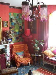 wall colors, wall hangings, living rooms, light fixtures, bohemian living, boho, bohemian style, bohemian interior, red walls
