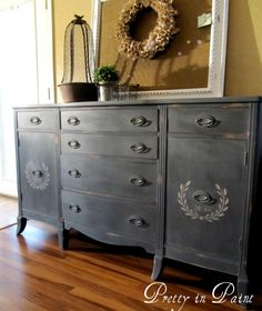 grey painted buffet with stenciled doors, www.facebook.com/prettyinpaint