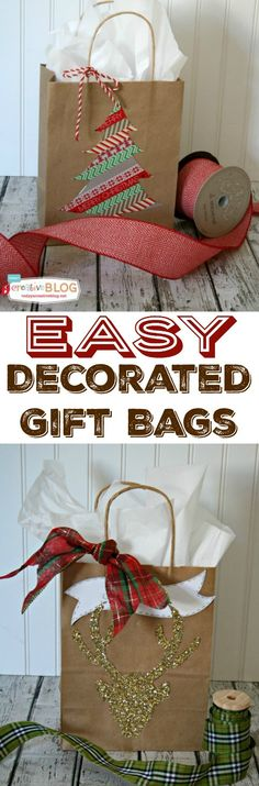 "Easy DIY Gift Wrap | Quick and easy holiday gift wrapping using gift bags, glitter and washi-tape! Create your own templates and create simple fun designs! See a full tutorial on <a href=""http://TodaysCreativeLife.com"" rel=""nofollow"" target=""_blank"">TodaysCreativeLif...</a>"