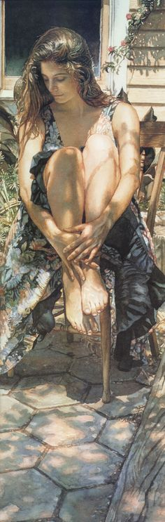 """""""Sunshine and Shadows"""" - Steve Hanks, watercolor {contemporary figurative artist beautiful woman sitting on chair filtered tree shadows painting detail}"""