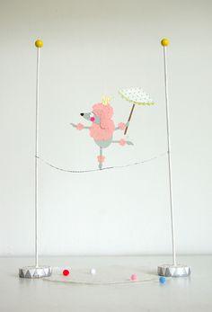 A dancing pink poodle #paperart, #circus