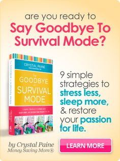Brand new book by Crystal Paine of MoneySavingMom.com for women who are stressed out and want to start enjoying life!