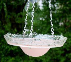 Old light fixture hanging bird bath - super fast & easy tutorial