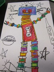 Adorable robots - the head is a traced light switchplate cover, and the arms and legs were traced around watercolor pans.  Love it!