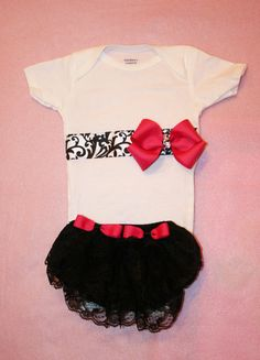 Baby Girl Clothes Onesie with B Ribbon Pink Boutique by itsyglam, $23.00